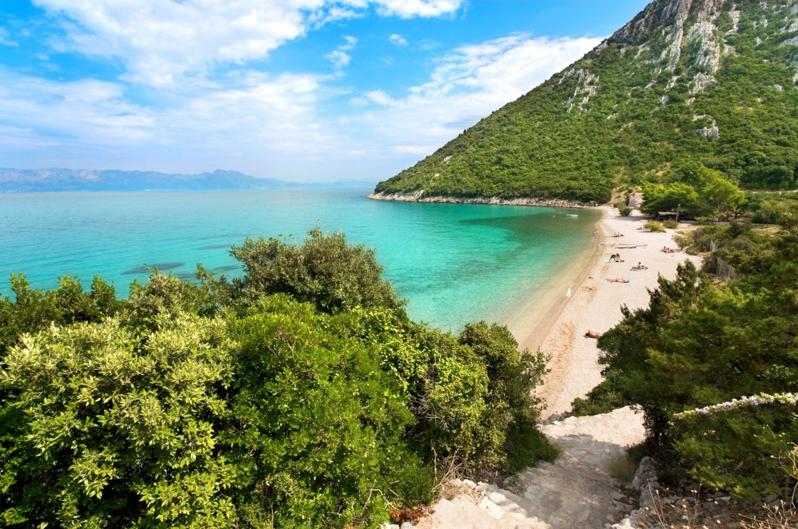 Croatian Beach, Beautiful Divna Bay On Peljesac Peninsula,