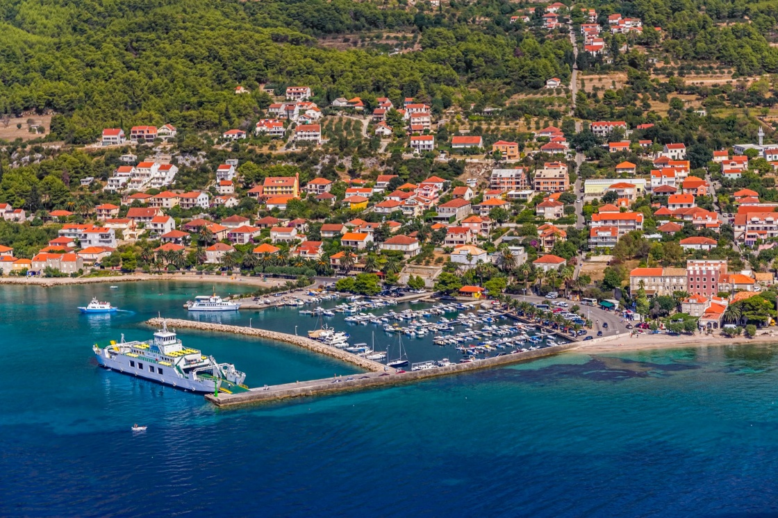 'Helicopter aerial shoot of tourist destination Orebic on Peljesac peninsula, Croatia' - Dubrovnik