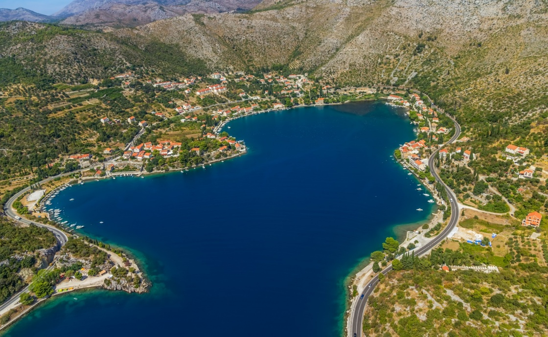 'Helicopter aerial shot of beautiful lagoon Zaton near Dubrovnik in Croatia.  Well known tourist destination.' - Dubrovnik